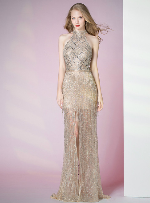Champagne Mermaid Halter Open Back Beading Sequins Prom Dress