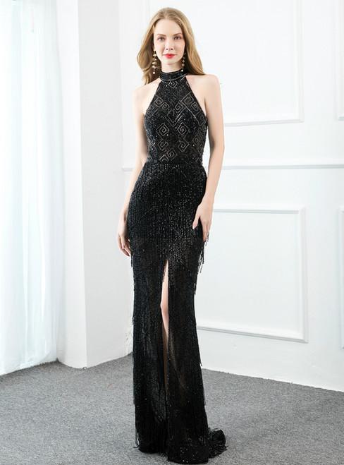 Black Mermaid Halter Open Back Beading Sequins Prom Dress