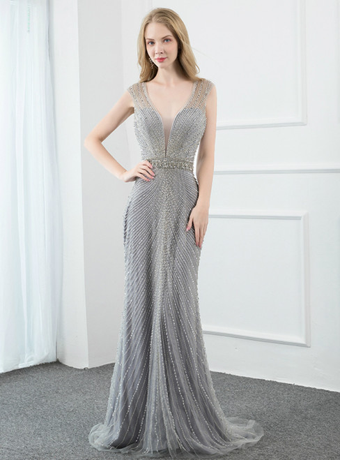Silver Gray Mermaid Tulle Beading Luxury Prom Dress
