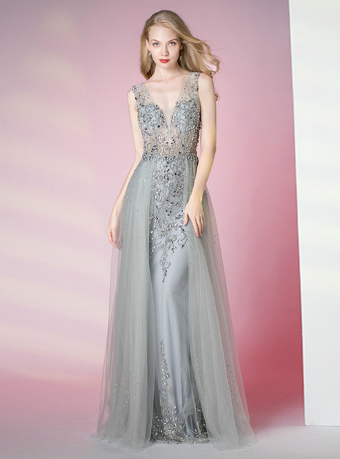 Gray Tulle Deep V-neck Backless Beading Sequins Prom Dress
