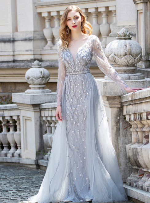 A-Line Gray Tulle Long Sleeve Beading Handwork Prom Dress