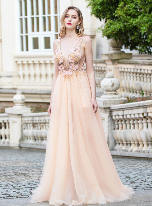 A-Line Champagne Tulle Deep V-neck Backless Appliques Prom Dress