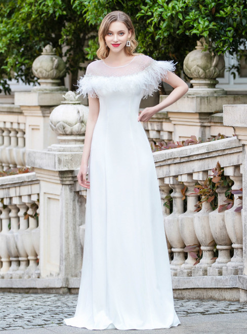 A-Line White Cap Sleeve Beading Feather Prom Dress