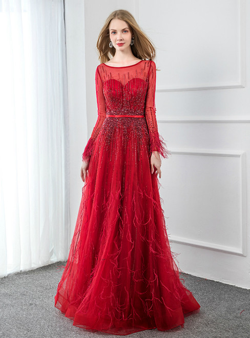 Modern Red Tulle Long Sleeve Beading Feather Prom Dress