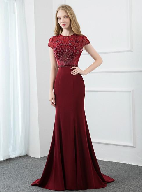Burgundy Mermaid Satin Cpa Sleeve Beading Long Prom Dress