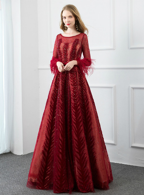 Burgundy Long Sleeve Velvet Beading Feather Prom Dress With Pocket
