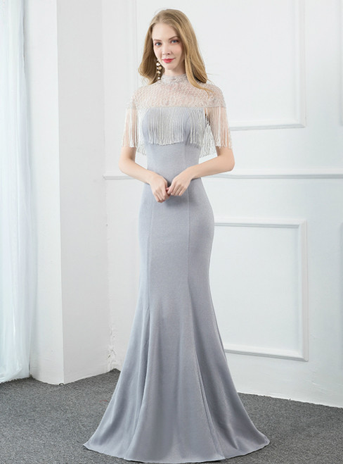 Silver Gray Mermaid High Neck Cap Sleeve Nackless Beading Prom Dress