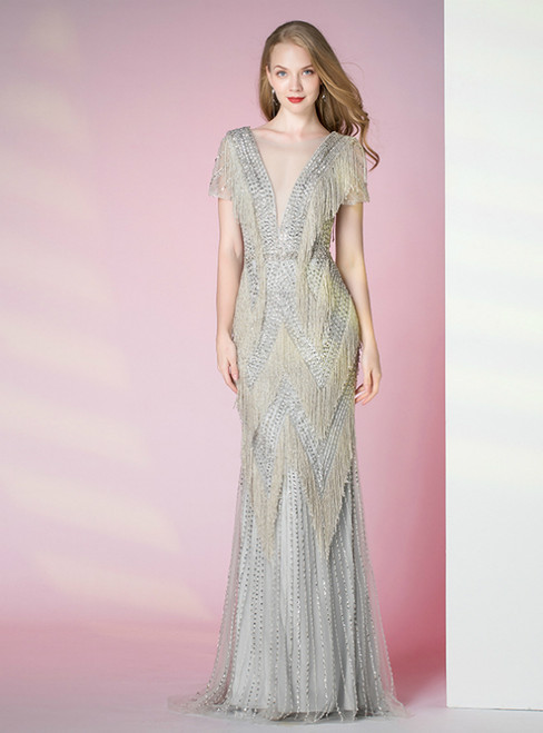 Light Gray Mermaid See Through V-neck Cap Sleeve Tassel Beading Prom Dress