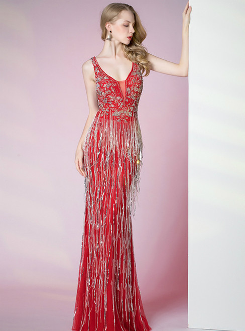 Red Mermaid V-neck Sleeveless Beading Sequins Tassel Prom Dress