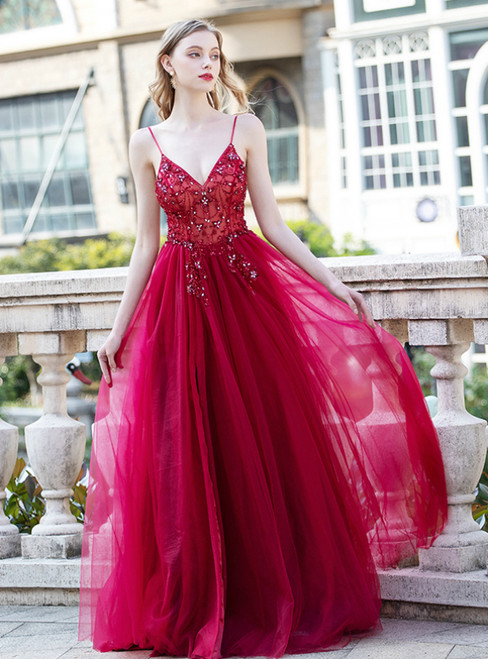 A-Line Burgundy Tulle Spaghetti Straps Backless Beading prom Dress