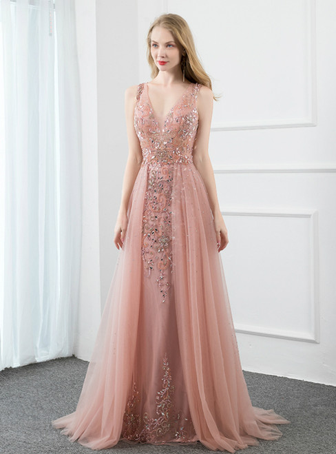 A-Line Pink Tulle V-neck Backless Beading Sequins Prom Dress