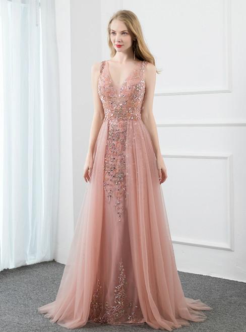 A-Line Pink Tulle V-neck Backless Beading Sequins Prom Dress