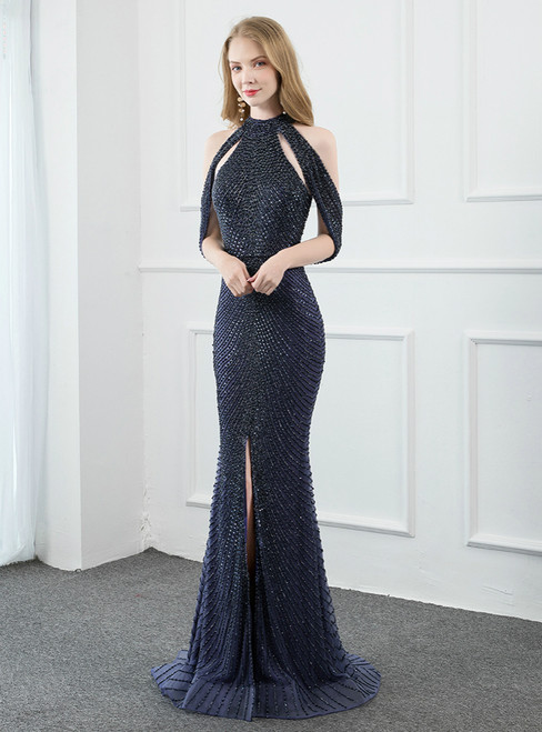 Navy Blue Mermaid Halter Backless Beading Sequins Prom Dress