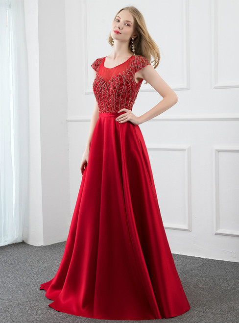 A-Line Red Satin Cap Sleeve Beading Sequins Prom Dress