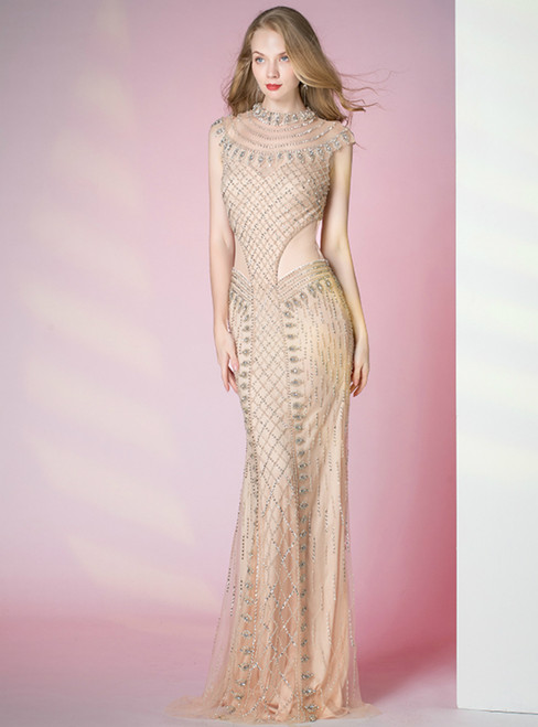 Gold Mermaid Tulle Cap Sleeve Beading Sequins Prom Dress