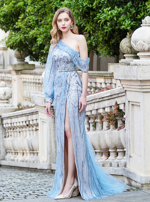 Blue Tulle One Shoulder Long Sleeve Prom Dress With Split