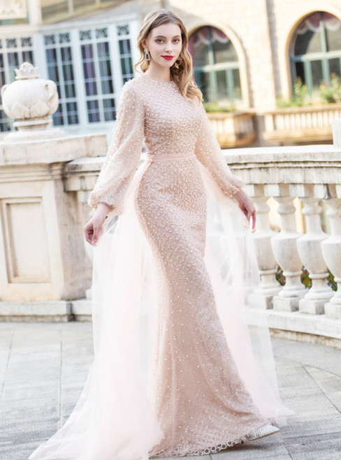 Champagne Mermaid Sequins Long Sleeve Pearls Prom Dress With Detachable Train