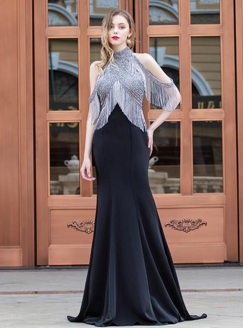 Black Mermaid Satin Halter Beading Handmade Prom Dress