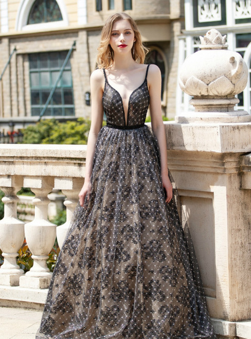 A-Line Black Lace Spaghetti Straps Backless Prom Dress