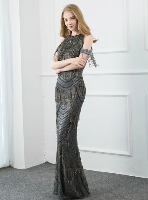 Dark Gray Mermaid Tulle Beading Halter Illusion Back Prom Dress