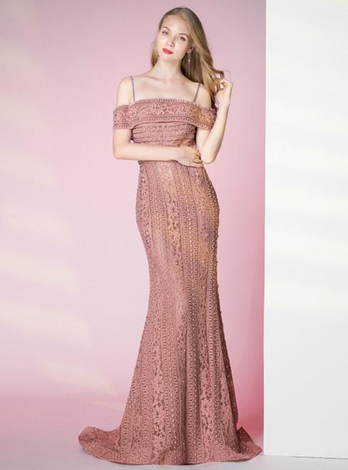 Dark Pink Mermaid Lace Spaghetti Straps Prom Dress