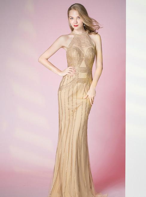 Gold Mermaid Tulle Halter Sleeveless Beading Prom Dress