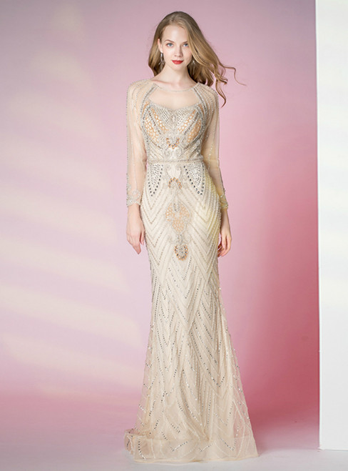 Light Champagne Mermaid Tulle Long Sleeve Beading Crystal Prom Dress
