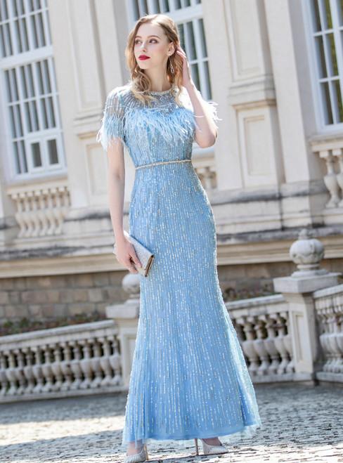 Blue Sheath Feather Short Sleeve Beading Prom Dress