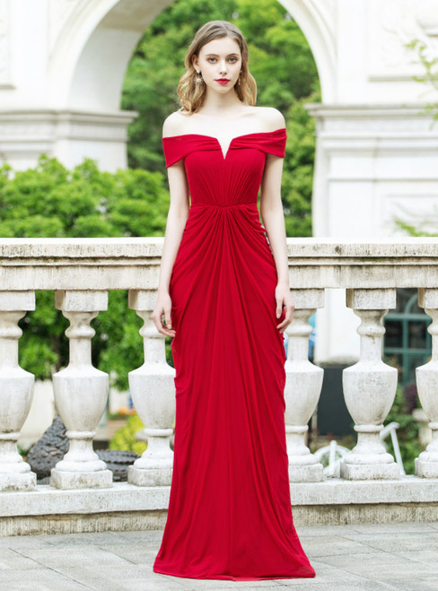 A-Line Red Off the Shoulder Pleats Long Prom Dress