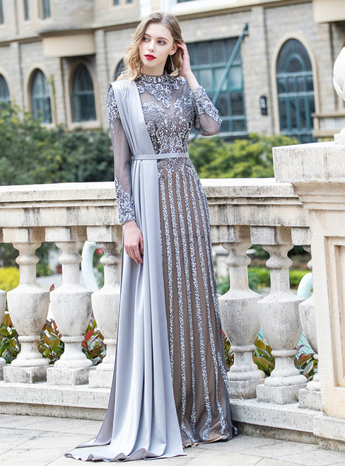 Gray Mermaid Tulle Long Sleeve Beading Sequins Prom Dress