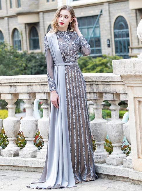 Gray Mermaid Tulle Long Sleeve Beading Sequins Prom Dress