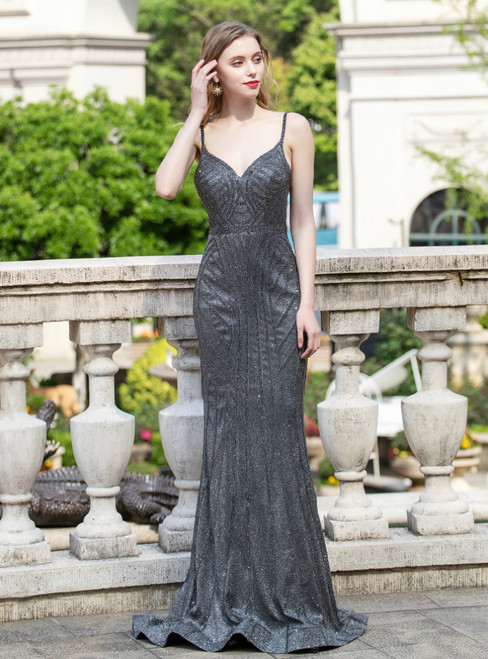 Black Mermaid Beading Spaghetti Straps Backless Prom Dress