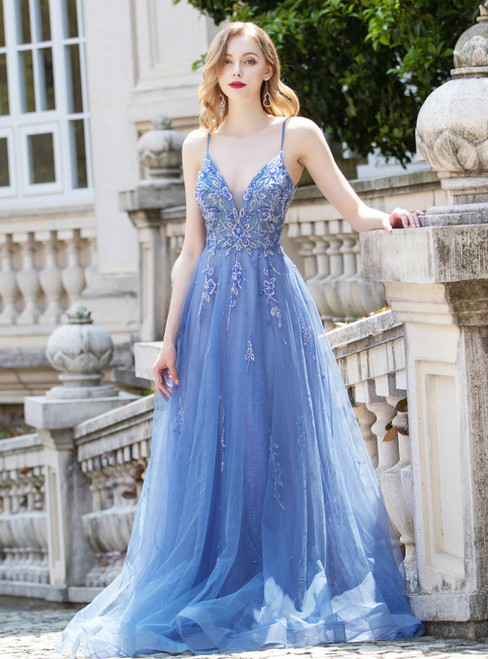 Blue Tulle Spagehtti Straps Backless Beading Prom Dress