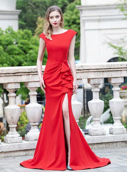 Red Mermaid Satin Cap Sleeve Ruffles Prom Dress With Split