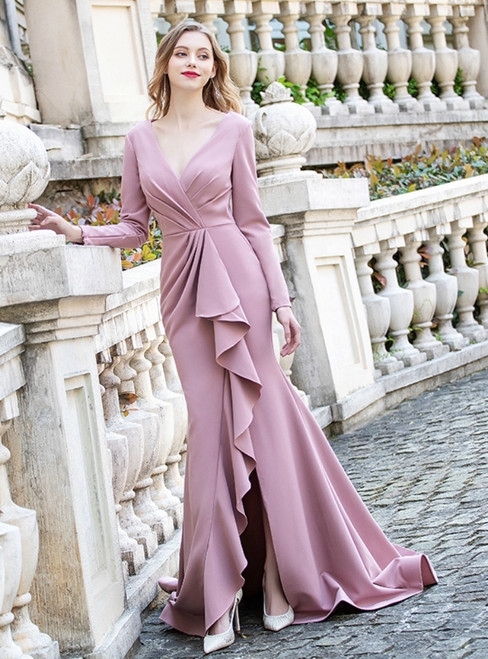Pink Satin Long Sleeve V-neck Pleats Ruffles Prom Dress With Split