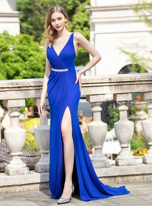 Royal Blue V-neck Backless Pleats Beading Prom Dress With Split
