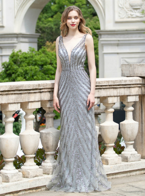 Gray Mermaid Tulle V-neck Backless Beading Sequins Prom Dress