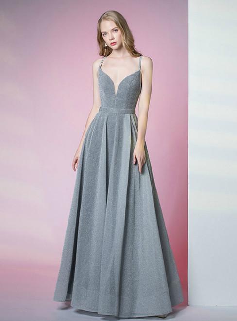 A-Line Gray Satin Double Straps Sleeveless Prom Dress
