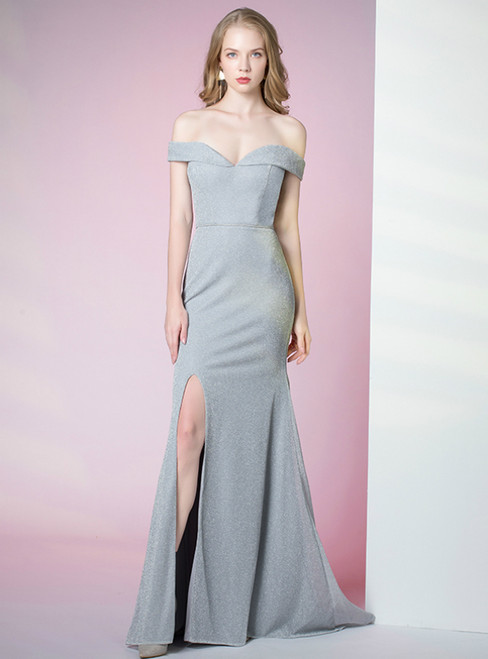 Gray Mermaid Satin Off the Shoulder Prom Dress With Split