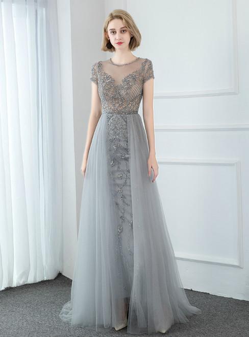 Gray Tulle Cap Sleeve Beading Long Prom Dress