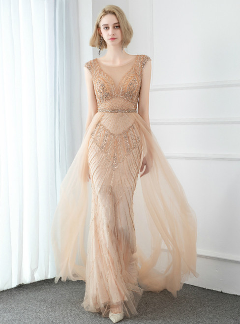 Sexy Champagne Tulle Cap Sleeve Scoop Prom Dress