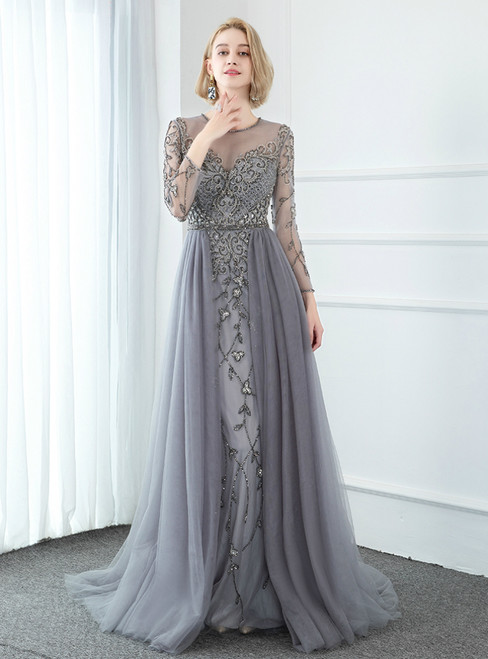 Fabulous Gray Tulle Long Sleeve Beading Illusion Prom Dress