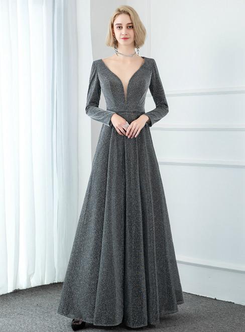 A-Line Gray V-neck Long Sleeve Party Prom Dress