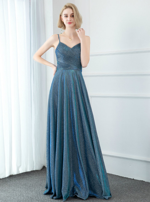 A-Line Blue Satin Spaghetti Straps Pleats Prom Dress