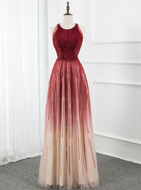 A-Line Burgundy Tulle Scoop Sleeveless Beading Sequins Prom Dress