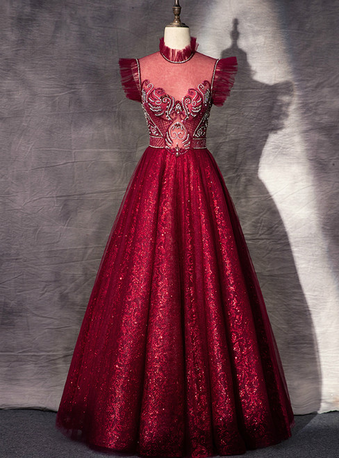 A-Line Burgundy Sequins High Neck Beading Crystal Prom Dress