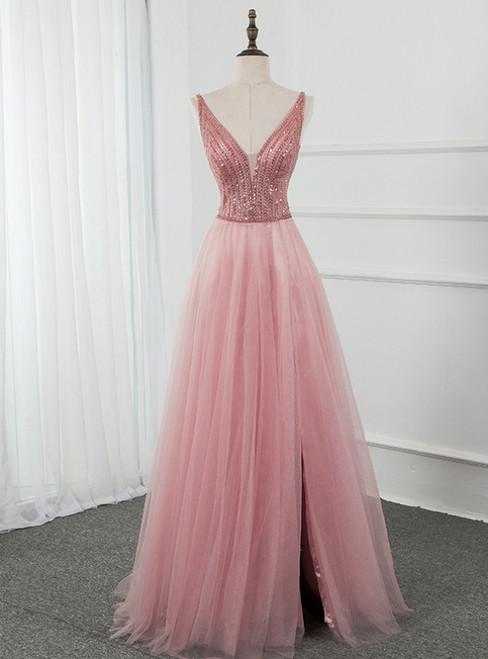 Pink Tulle Deep V-neck Backless Beading Sequins Prom Dress