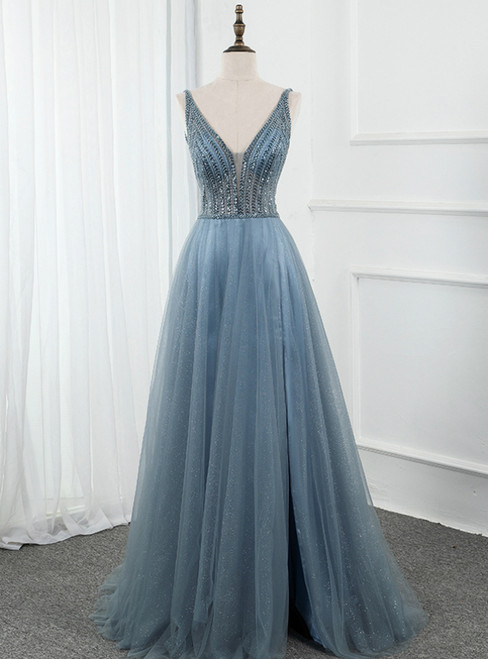 Blue Tulle Deep V-neck Backless Beading Sequins Prom Dress