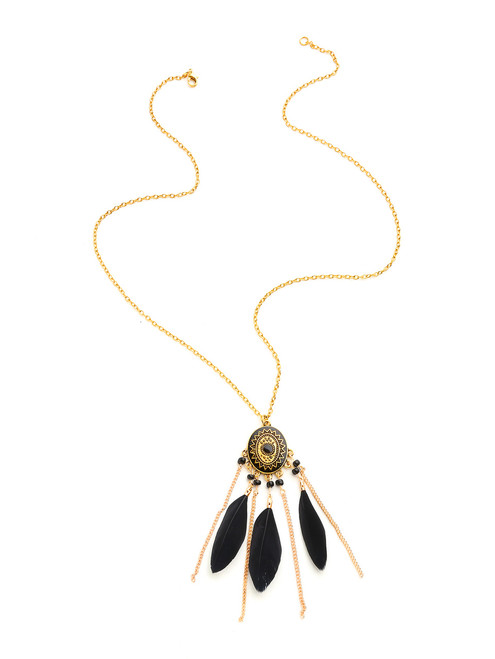 Feather And Chain Tassel Pendant Necklace