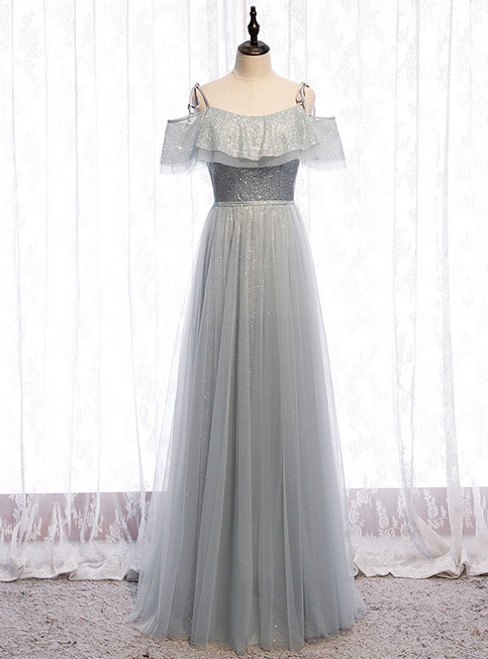 A-Line Silver Gray Tulle Sequins Spaghetti Straps Prom Dress